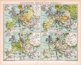 Europa Historische II. Karte Lithographie 1892 Original...