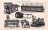 Flachsspinnerei I. Holzstich 1891 Original der Zeit