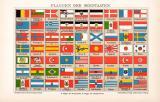 Flaggen Seestaaten Chromolithographie 1898 Original der Zeit