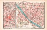 Florenz Stadtplan Lithographie 1899 Original der Zeit