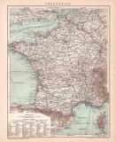 Frankreich Karte Lithographie 1899 Original der Zeit
