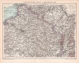 Nordost Frankreich Karte Lithographie 1899 Original der Zeit