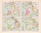 Frankreich historischen Karte Lithographie 1892 Original...