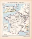 Frankreich Militärkarte Lithographie 1899 Original...
