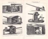 Geschütze IV. - VI. Holzstich 1892 Original der Zeit