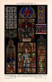 Glasmalerei I. Chromolithographie 1892 Original der Zeit