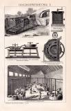 Goldgewinnung I. Holzstich 1892 Original der Zeit