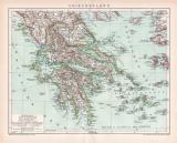 Griechenland Karte Lithographie 1899 Original der Zeit
