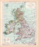Großbritannien Irland Karte Lithographie 1899...
