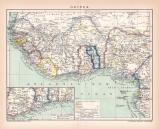 Guinea Karte Lithographie 1899 Original der Zeit