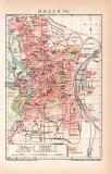 Halle Saale Stadtplan Lithographie 1899 Original der Zeit