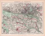 Hamburg und Umgebung Stadtplan Lithographie 1899 Original...