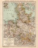 Norddeutschland Karte Lithographie 1899 Original der Zeit