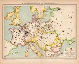 Militärkarte Europa Lithographie 1899 Original der Zeit