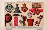 Indische Kunst I. Chromolithographie 1891 Original der Zeit