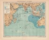 Indischer Ozean Karte Lithographie 1899 Original der Zeit