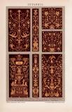 Intarsia Chromolithographie 1891 Original der Zeit