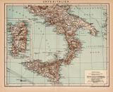 Unter Italien Karte Lithographie 1899 Original der Zeit