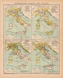 Italien Historischen Karte Lithographie 1891 Original der...