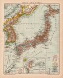 Japan und Korea Karte Lithographie 1898 Original der Zeit
