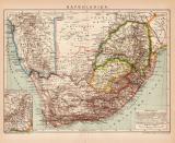 Kapkolonien Afrika Karte Lithographie 1899 Original der Zeit