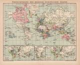 Kolonien Welt Karte Lithographie 1899 Nov Original der Zeit