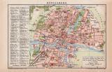 Königsberg Stadtplan Lithographie 1899 Original der...