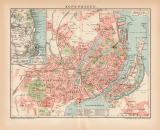 Kopenhagen Stadtplan Lithographie 1899 Original der Zeit