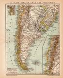 Argentinien Chile Patagonien Karte Lithographie 1899...