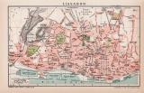 Lissabon Stadtplan Lithographie 1899 Original der Zeit