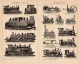 Lokomotiven I. + III. Holzstich 1891 Original der Zeit