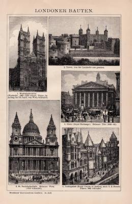 Londoner Bauten Holzstich 1891 Original der Zeit