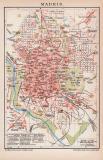 Madrid Stadtplan Lithographie 1899 Original der Zeit