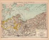 Mecklenburg & Pommern Karte Lithographie 1899...