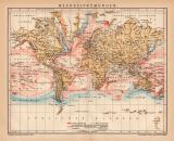 Meeresströmungen Welt Karte Lithographie 1899...