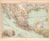 Mexiko Karte Lithographie 1899 Original der Zeit