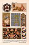 Mosaik Chromolithographie 1891 Original der Zeit