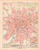 Moskau Stadtplan Lithographie 1899 Original der Zeit