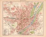 München Stadtplan Lithographie 1899 Original der Zeit