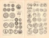 Münzen I. + IV. Holzstich 1891 Original der Zeit