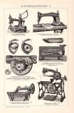 Nähmaschinen I. Holzstich 1891 Original der Zeit