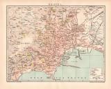 Neapel Stadtplan Lithographie 1897 Original der Zeit