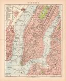New York Stadtplan Lithographie 1899 Original der Zeit