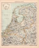 Niederlande Karte Lithographie 1898 Original der Zeit