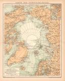 Nordpolarländer Karte Lithographie 1899 Original der...