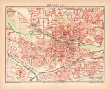 Nürnberg Stadtplan Lithographie 1899 Original der Zeit