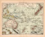 Oceanien Karte Lithographie 1899 Original der Zeit