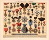 Die wichtigsten Orden I. Chromolithographie 1891 Original...