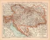 Österreich-Ungarn politische Karte Lithographie 1899...