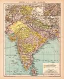 Indien Karte Lithographie 1899 Original der Zeit